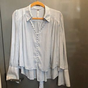 Free People blue striped blouse XS